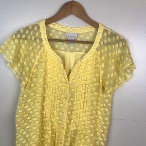 SOFT SURROUNDINGS Silk Button Front Yellow Blouse